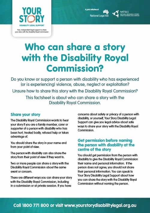 Who can share a story with the Disability Royal Commission?