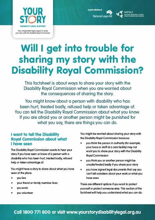 Will I get into trouble for sharing my story with the Disability Royal Commission?