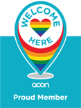Proud member of ACONs Welcome Here Project welcoming lesbian, gay, bisexual, transgender, intersex and queer (LGBTIQ) communities